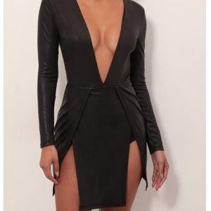 Black low V dress with slits
